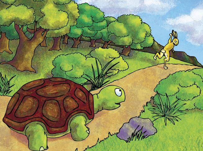 the rabbit and the turtle running race The rabbit and the turtle race on your watch is a simple designe to make you smile whenever you turn on your watch, you can check who is winning maybe the rabbit and the turtle watch face can encourge you to run with them.